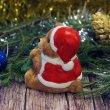 "Сувенир керамика ""Мишка в костюме деда мороза с ёлочкой"" 7,5х8,5х6,2 см"