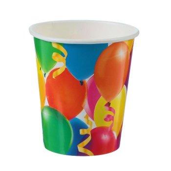 """Стакан бумажный """"Праздник"""", воздушные шары и серпантин, 250 мл."""