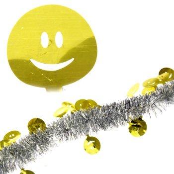 """Мишура """"Смайл"""", d-5 см, 2 м, серебро с золотом"""