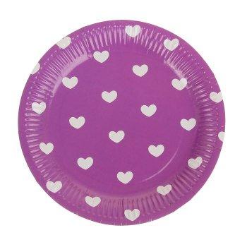 Тарелка сиреневая в сердечко, набор 6 шт., d=23 см