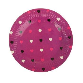 """Набор бумажных тарелок """"Цветные сердечки"""" фуксия, (6 шт), 18 см"""