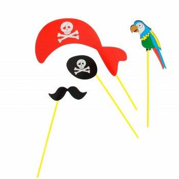 """Набор аксессуаров для фотосессии на палочке """"Пират"""" 4 пр: бандана, наглазник, усы, попугай"""