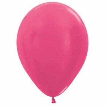 """Шар латексный 9"""", металл, набор 100 шт., цвет тёмно-розовый"""